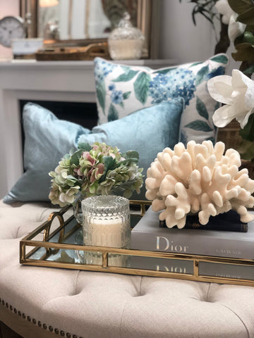Mirror Tray with Gold Arch Handles