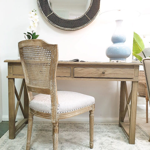 White Hamptons style desk with 2 drawers and brass fixtures. Style My Home Australia