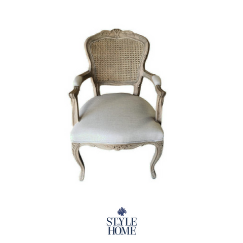 'Eloise' Deluxe French Rattan Dining Chair with arms