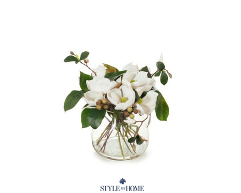 Magnolia Mix in Vase White 38cmh