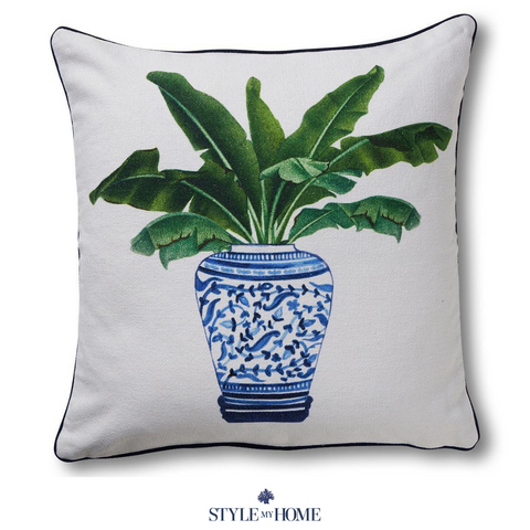 Palm in Ginger Jar Cushion with Navy Piping