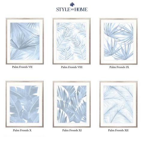 Montego Foliage (Pale Blue) Framed Artwork Collection