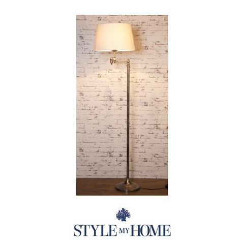Macleay Floor Lamp Base Antique Silver