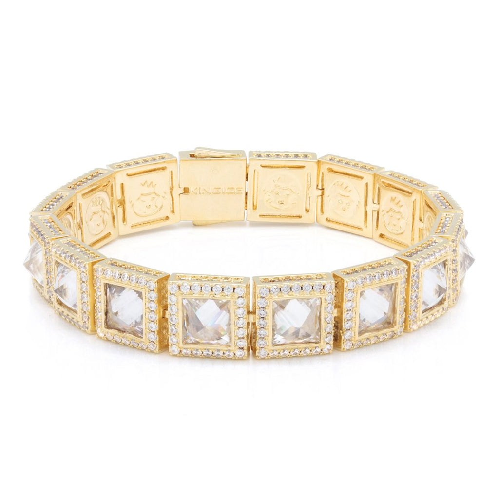 Pyramid Studded Princess Cut Bracelet