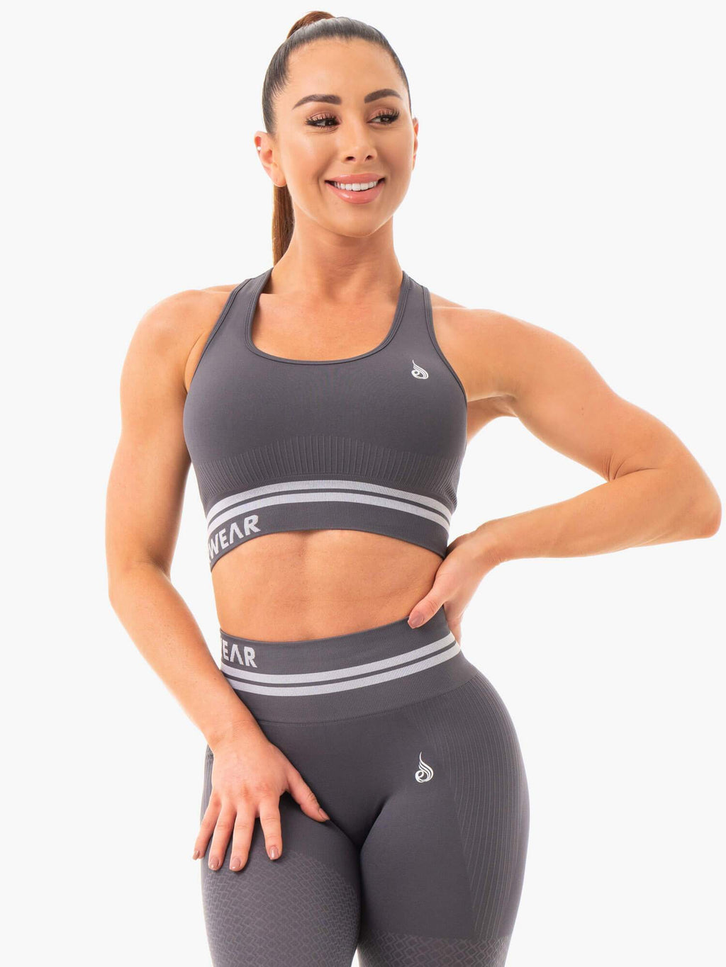 Freestyle Seamless Longline Sports Bra - Charcoal