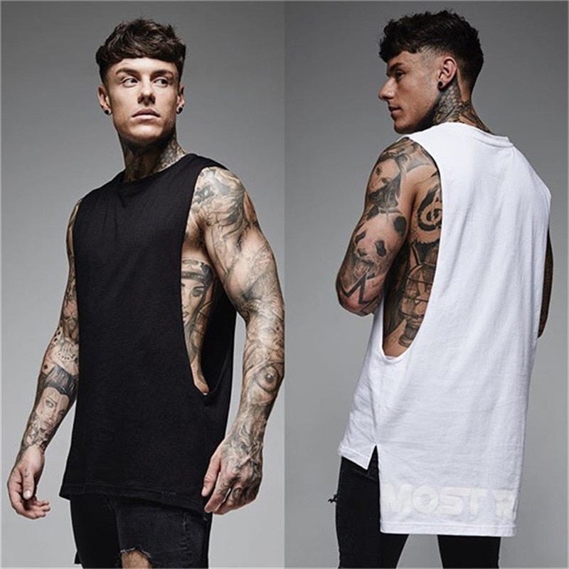 Fashion trend vest brand men's sleeveless vest summer cotton men's casual wear bodybuilding sportswear sports fitness vest