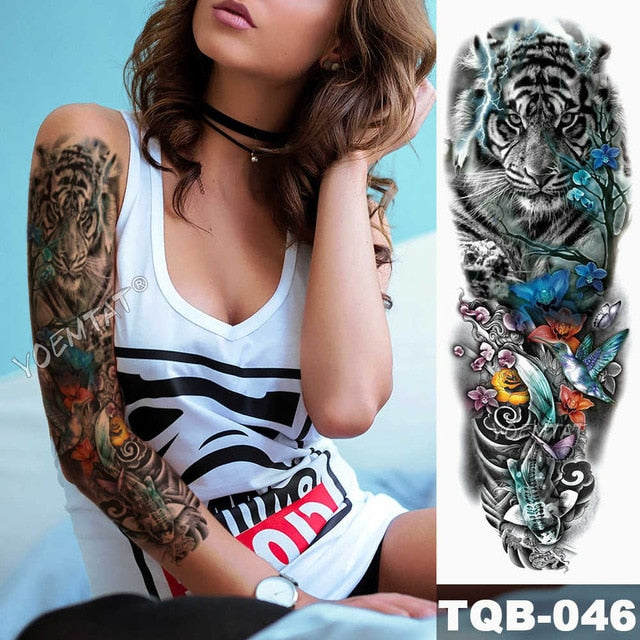 Large Arm Sleeve Tattoo Lion Crown King Rose Waterproof Temporary Tatoo Sticker Wild Wolf Tiger Men Full Skull Totem Tatto