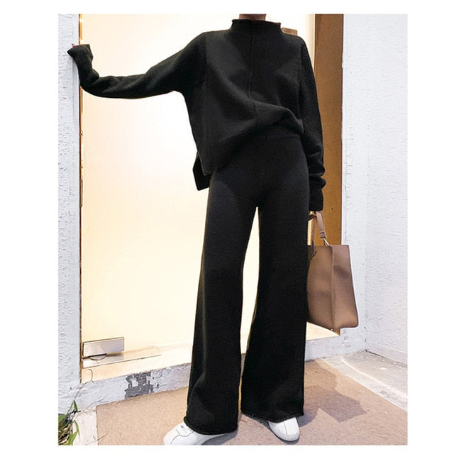 Two Piece Set Pullover Sweater Tracksuit Women High Waist Knit Wide Leg Pants Women Suit 2 Piece Set Women Winter 2021