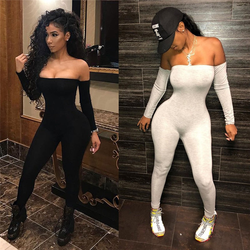 Sexy Women Jumpsuits Ladies Clothes Long Sleeve Off Shoulder Bodycon Playsuit Party Jumpsuit Romper Trousers Womens Playsuits