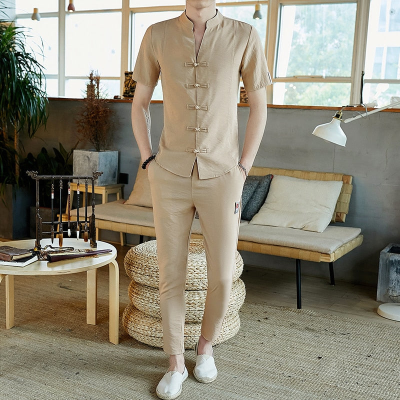 Men Tracksuits Vintage Man Clothing 2020 Spring Wear Long Sleeve Street Wear Male Travel Set Linen Long Pants in Men's Sets