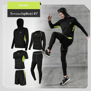 5 Pcs/Set Men's Tracksuit Gym Fitness Compression Sports Suit Clothes Running Jogging Sport Wear Exercise Workout Tights