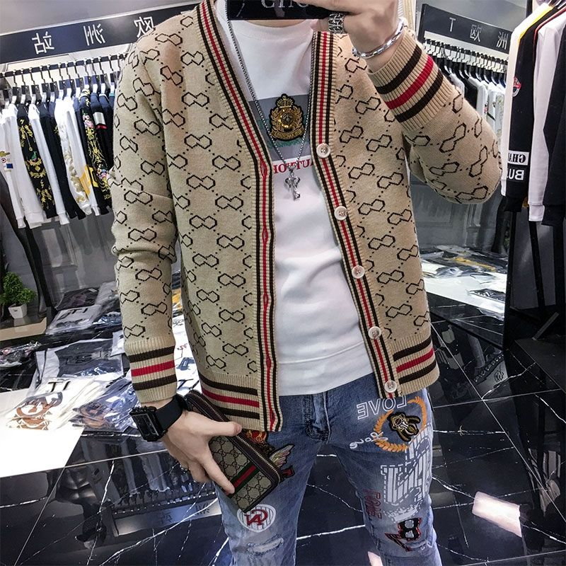 Plaid Sweater Jacket Men 's Cardigan Fashion Sweater 2020 Spring and Autumn New Men 's Fashion Long-Sleeved British Style Jacket