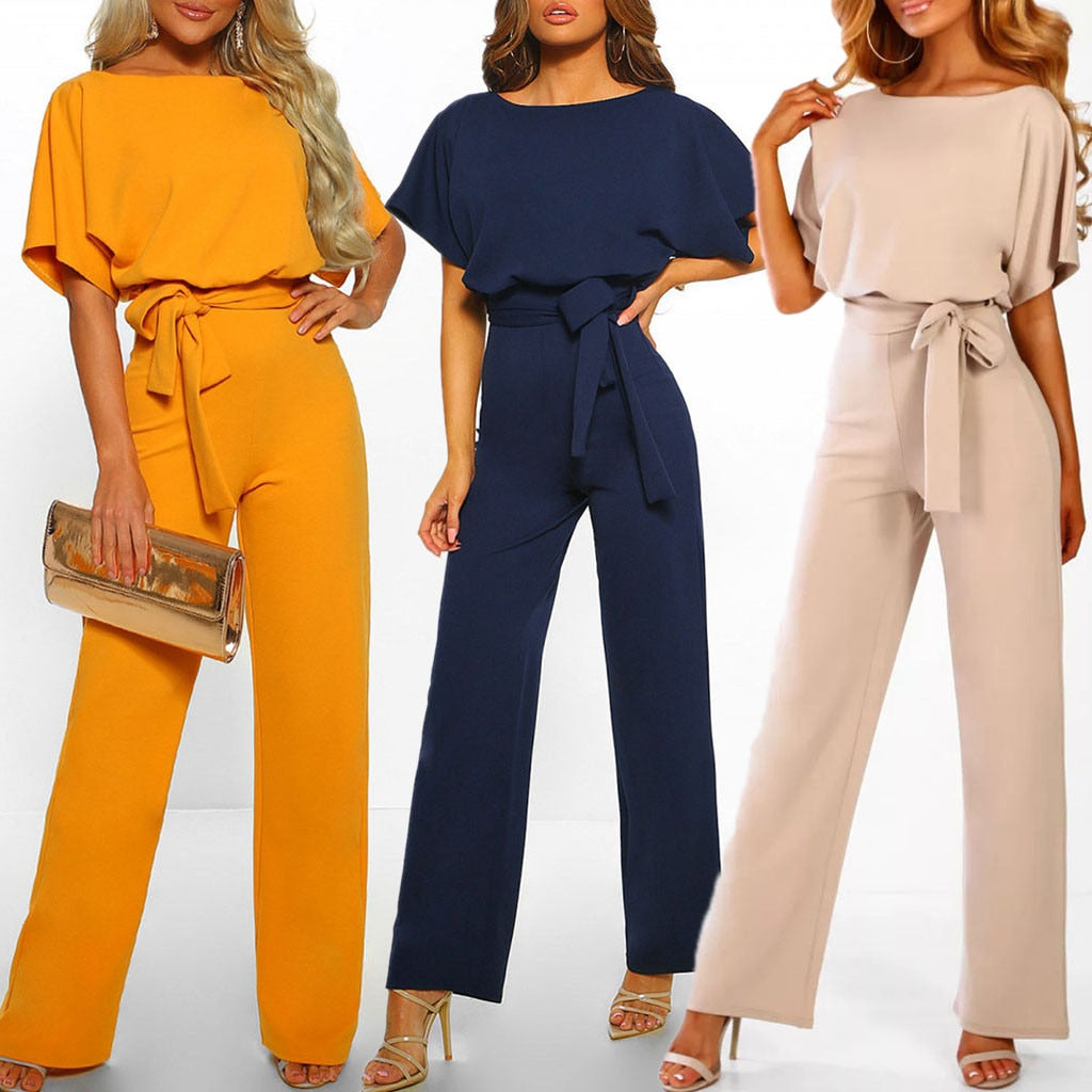 Rompers Women Jumpsuit Short Sleeve Playsuit Clubwear Straight Leg Jumpsuit Women's With Belt Bodysuit Rompers