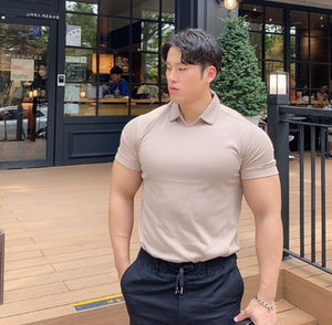 Summer V-neck muscular sport Polo shirts with solid-color lapels, round bottoms body-slimming fitness shirts and short sleeves