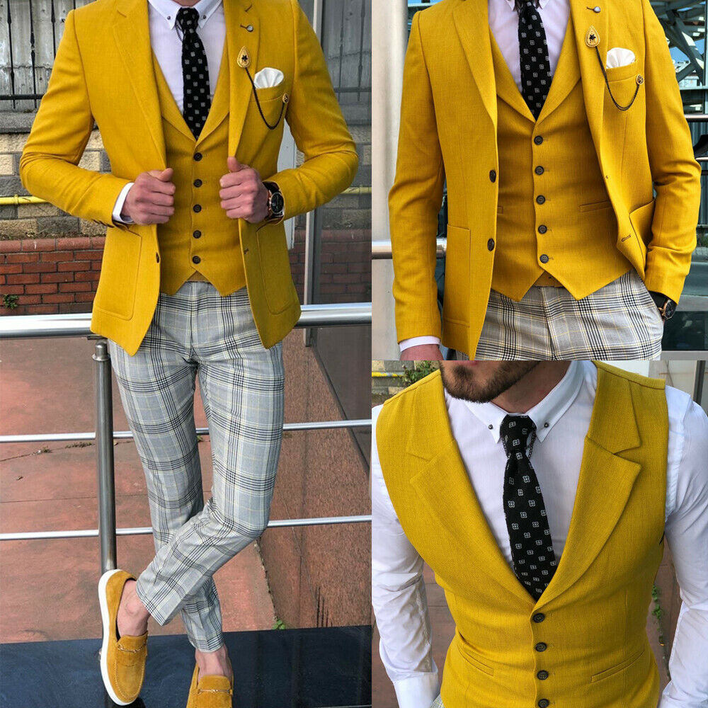 Formal Yellow Men Suits Slim Wedding Groomsman Tuxedos Classic Fit Notch Lapel Summer Wear Prom Men's Suit Morning Blazer 3 Pcs