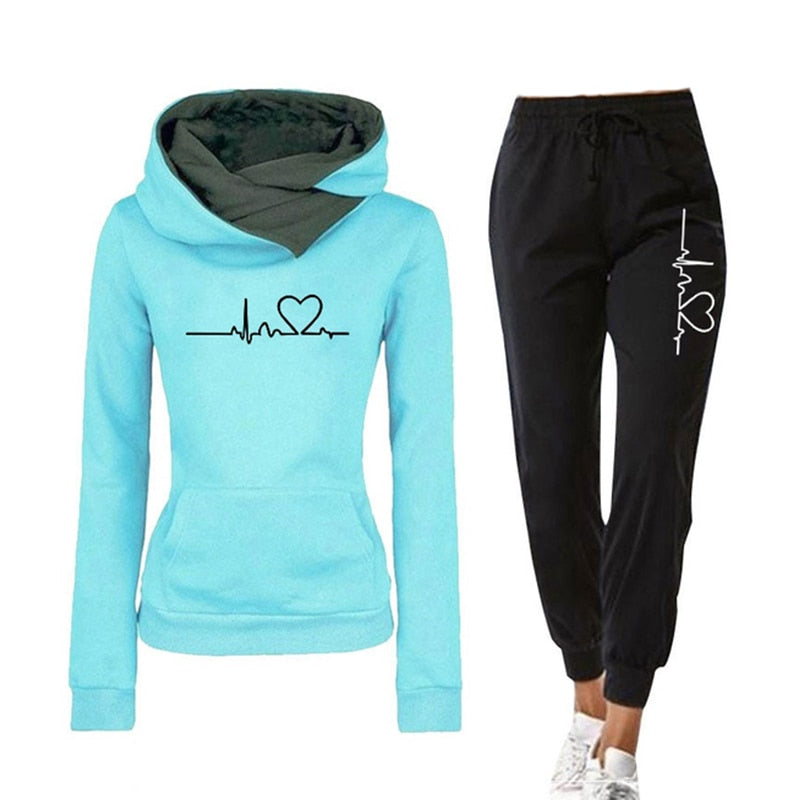 Casual Two Piece Outfits Pullovers Hoodies and Elastic Waist Jogger Pants Spring Autumn Tracksuit Woman Suit Female Sets 2021