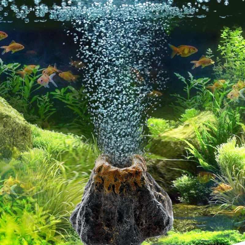 2021 Fish tank landscaping volcanic shape aquarium decoration setting rockery ornaments oxygenation tool
