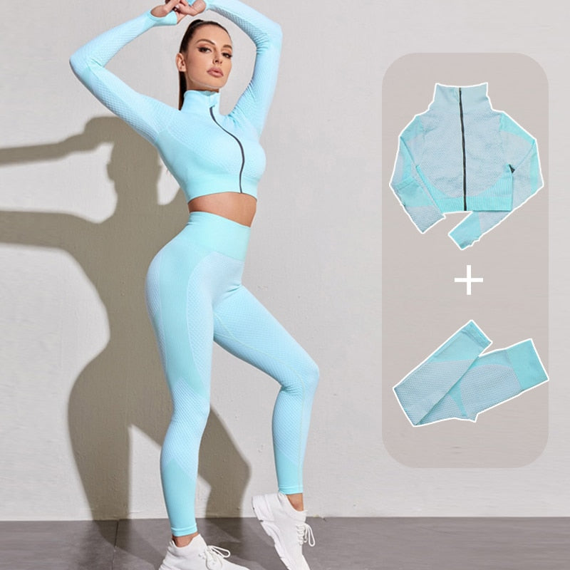 Women Yoga Set Gym Set Yoga Bra Suits Gym Clothing Sport Fitness Suit Running Clothes Yoga Top Leggings Women Seamless Gym Suit