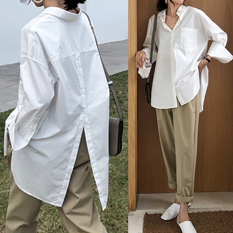 Women White Shirt 2021 Oversized Shirts Fashion Lapel Casual Solid Long Sleeve Buttons Asymmetrical Top Autumn Blusas 5XL