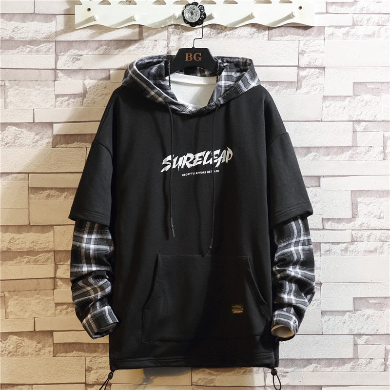 2020  Black Patchwork Hoodies Autumn Spring MEN'S Sweatshirts Hiphop Punk Streetwear Casual Pullover