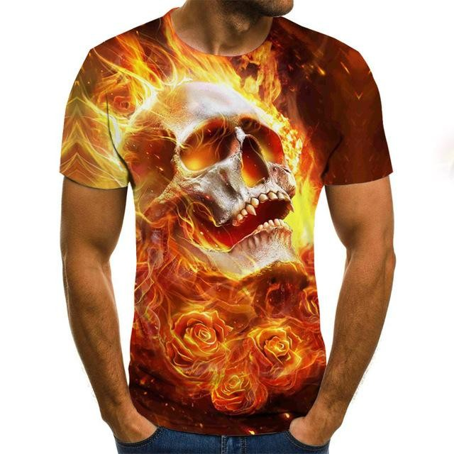 2020 Horror Flame Skull T-shirt Summer Men's Casual Top 3D Printing Short Sleeve Fashion Street Wear