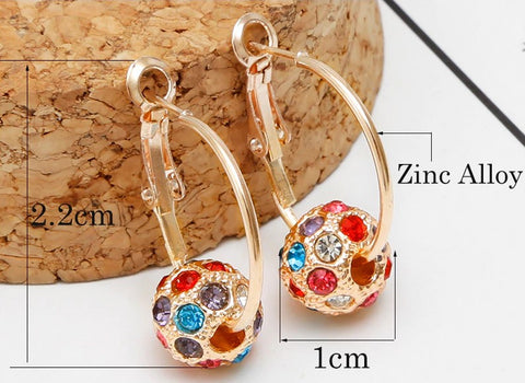 Fashion Crystal Ball Gold/Silver Earrings High Quality Earrings For Women Wedding Party Jewelry Boucle D'ore