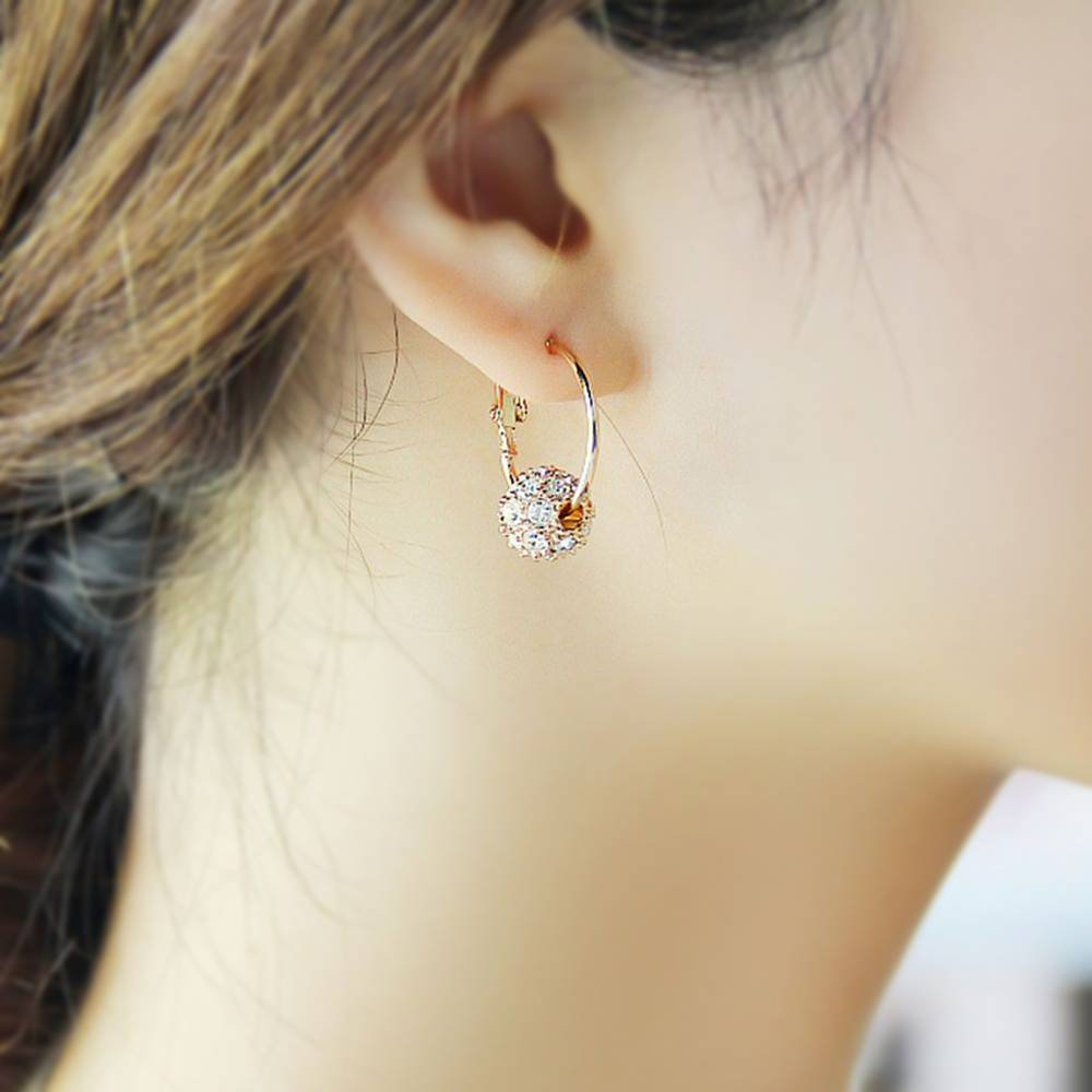 High Quality Earrings Rings With Crystal ball Round Pendant
