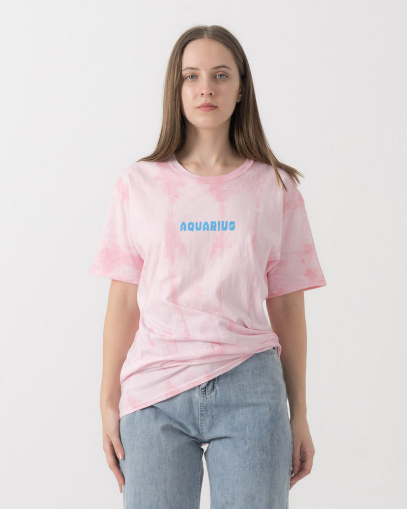 Pink Tie Dye Aquarius T-Shirt (PO 7 days)