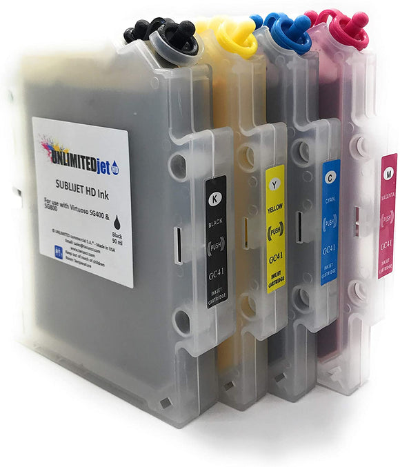 Cartridges for Sawgrass Virtuoso SG400 / SG800 Ricoh Sg 3100 DN/SG 7100 DN with UnlimitedJet Ink