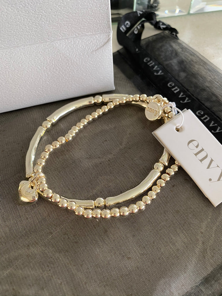 Envy Double Beaded and Noodle Gold Heart Bracelets