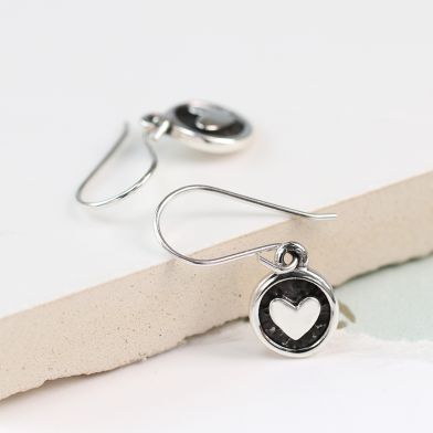 Pom Sterling Silver Oxidised Heart Disc Drop Earrings
