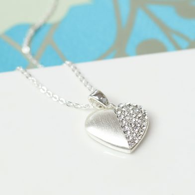 Pom Silver Plated Split Crystal Heart Necklace
