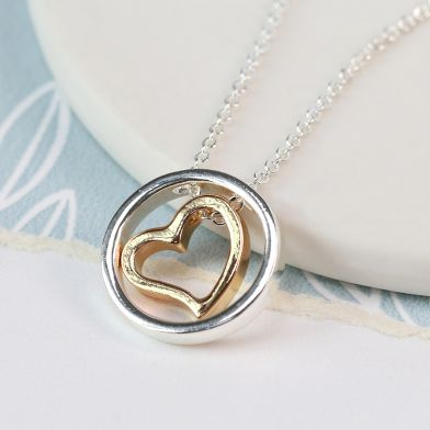 Pom Yellow Gold Heart In Silver Plated Circle Necklace