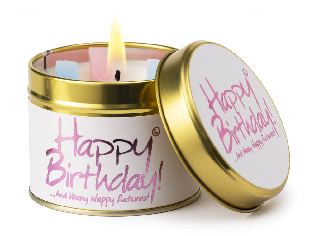 Lily Flame Candle Tin - Happy Birthday