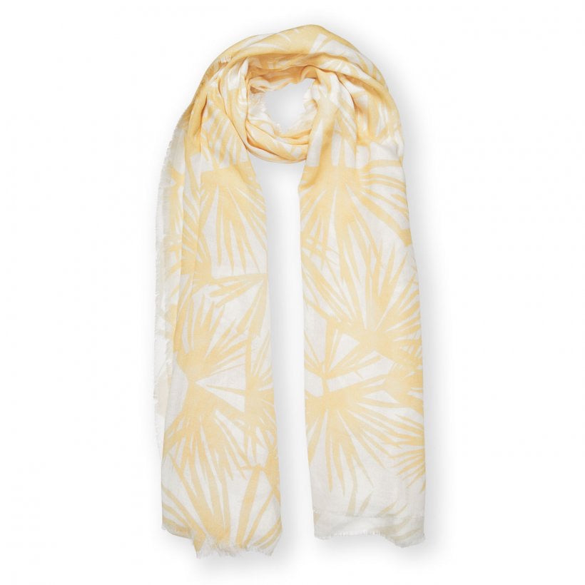 Katie Loxton Sentiment Scarf Tropical Leaf Print White