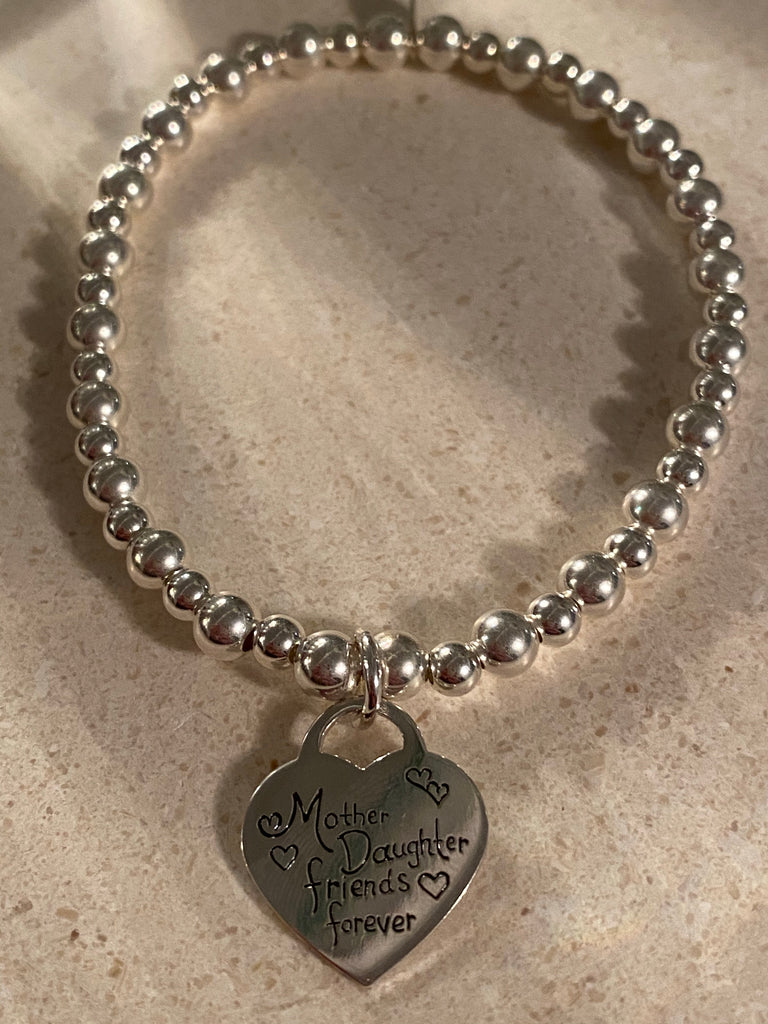 Sterling Silver Bracelet with Mother and Daughter Friends Forever
