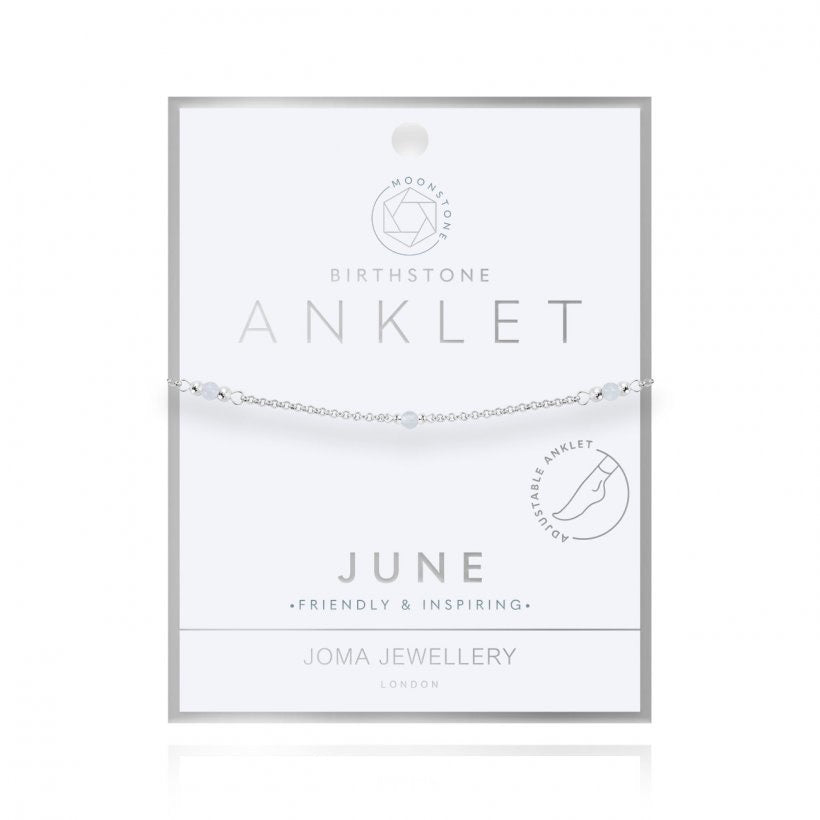 Joma Jewellery Birthstone Anklet June Moonstone