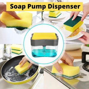 Stylish Liquid Soap Pump Dispenser + Sponge Holder (With Free Sponge)