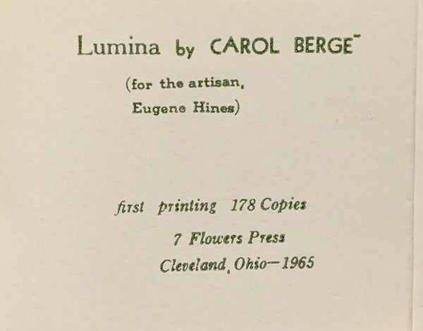 Lumina, Carol Berge. First Edition, 1st. 7 Flowers Press d.a. levy mimeo