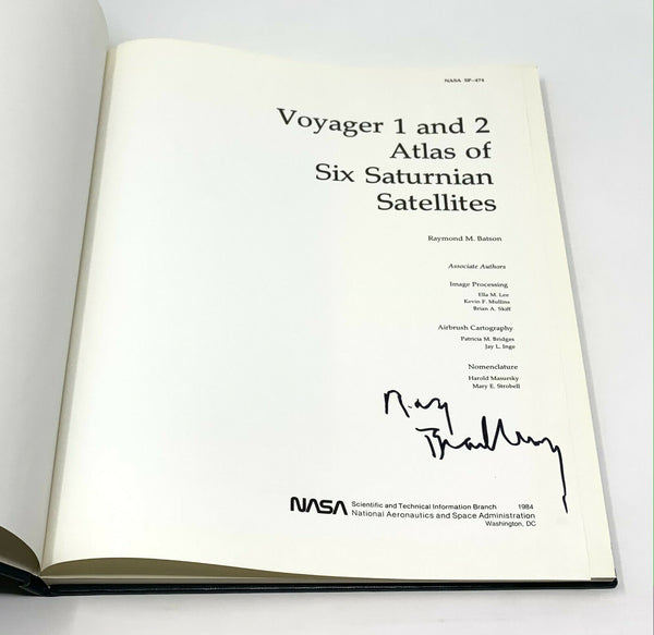Voyager 1 & 2 Atlas of Six Saturnian Satellites, 1st Ed. Signed by Ray Bradbury