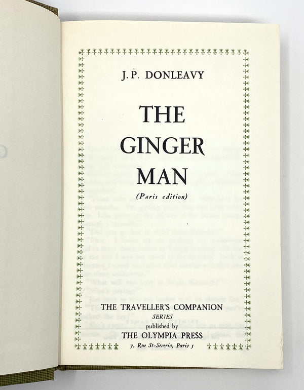 The Ginger Man, J.P. Donleavy. Second Edition. Olympia Press ~ 1958