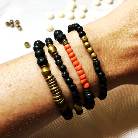 essential oil diffuser bracelets with lava bead, vintage glass and up cycled metal beads