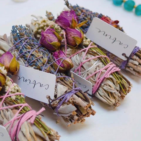 lavender and rosebud white sage smudge bundles