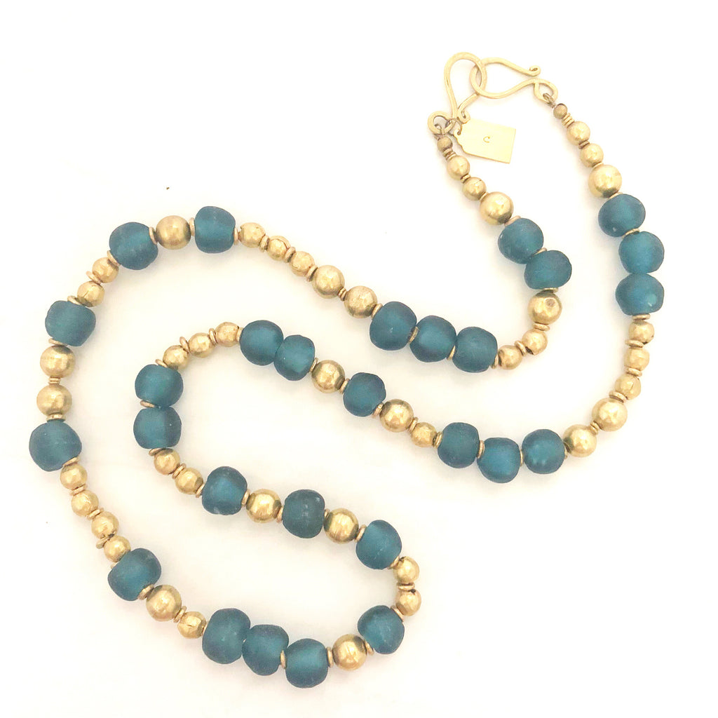teal blue recycled glass necklace