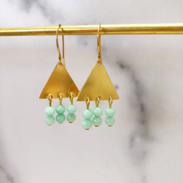 Brass triangle earrings with jade gemstone beads