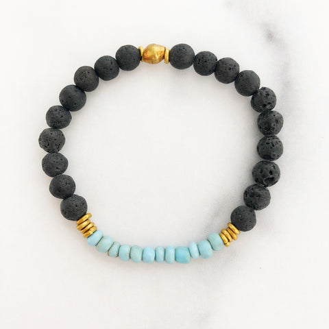 blue vintage glass + lava bead bracelet