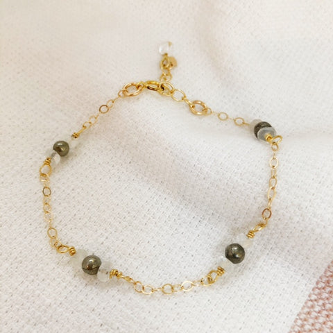abundance bracelet in pyrite + clear quartz