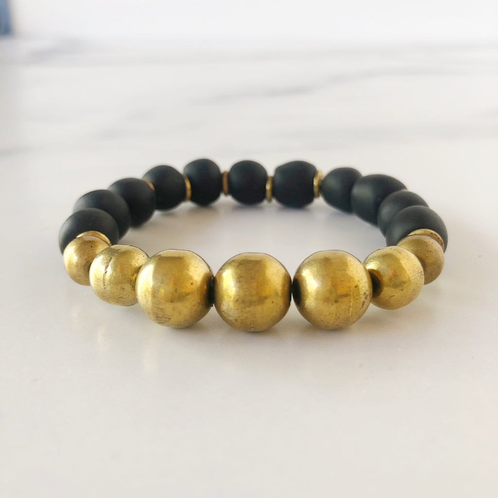 Black  with Gold Metal Beads Recycled Glass Bracelet