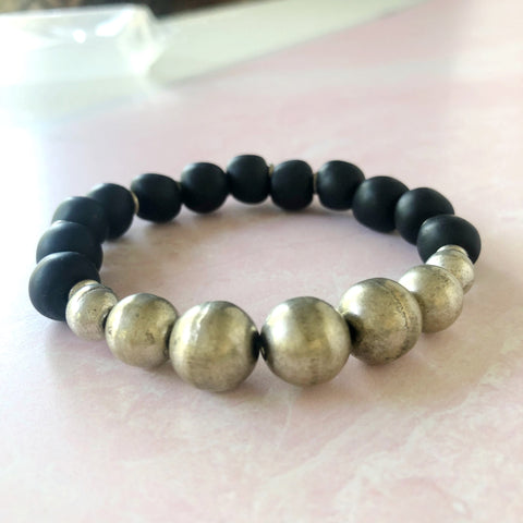 Eclipse Black with Silver Recycled Glass Bracelet