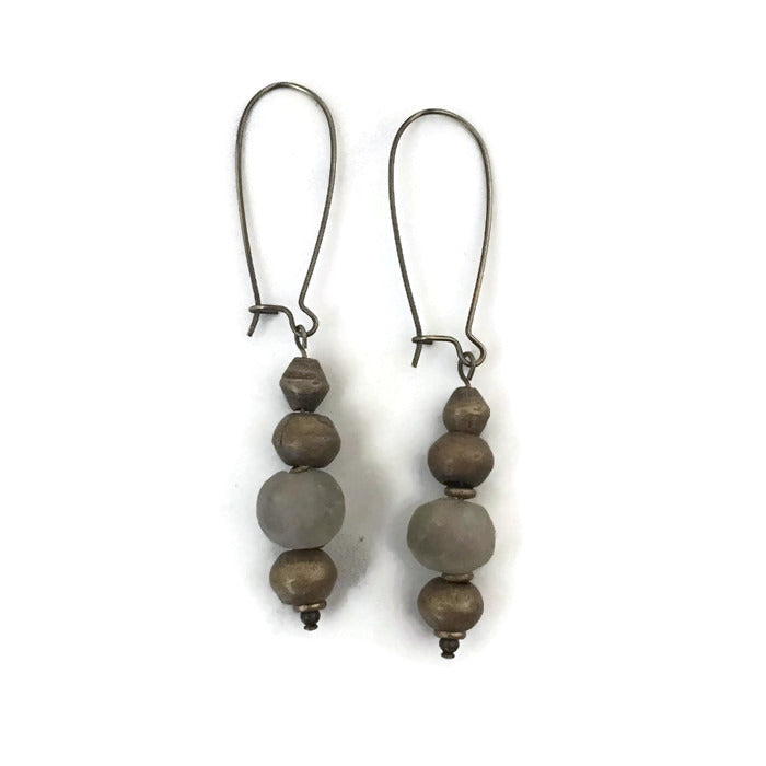 grey recycled glass earrings